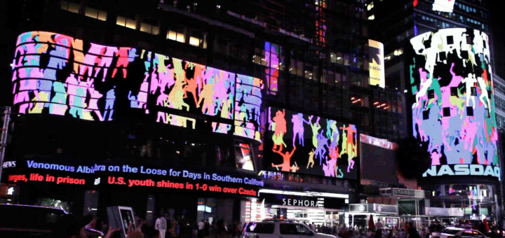 """The projection of the work """"Storming Times Square"""" by Daniel Canogar"""